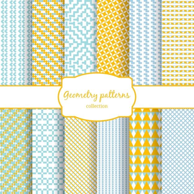 Conjunto de padrões sem emenda de vetor geométrico abstrato amarelo, azul e branco. Vetor grátis