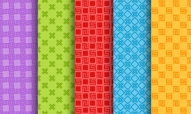 Conjunto de padrões sem emenda diferentes brilhantes Vetor Premium