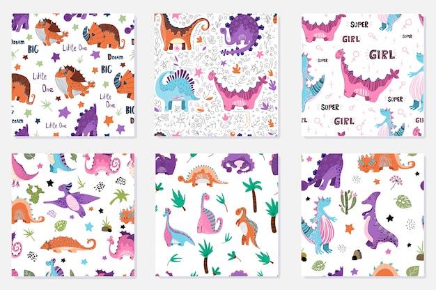Conjunto de padrões sem emenda - dinossauros dos desenhos animados Vetor Premium