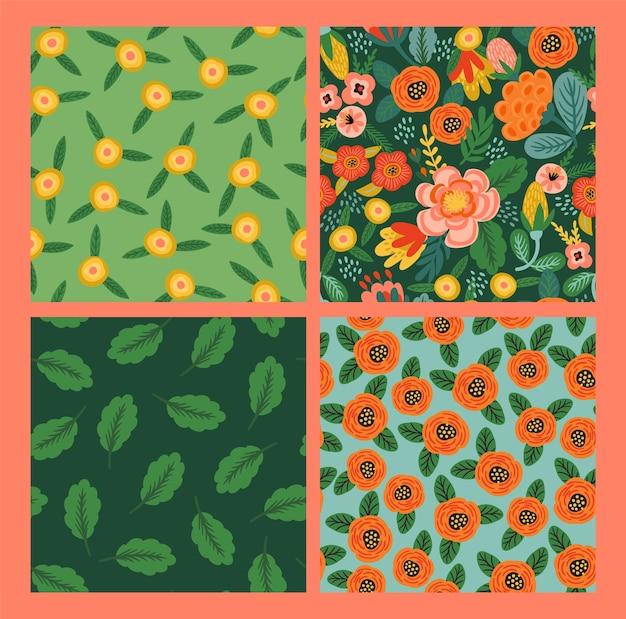 Conjunto de padrões sem emenda florais do folk. Vetor grátis