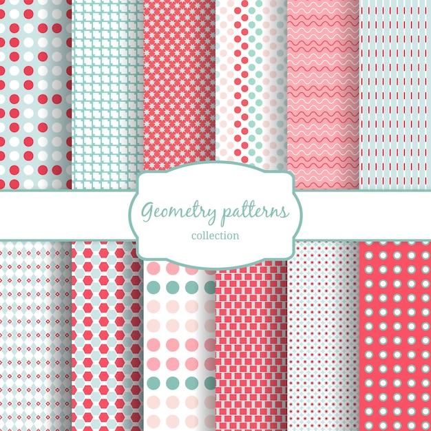 Conjunto de padrões sem emenda geométricos abstratos. bolinhas e linhas onduladas. Vetor grátis