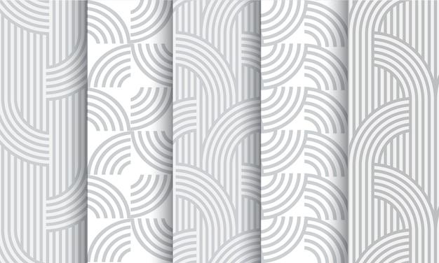 Conjunto de padrões sem emenda listrado cinza luz geométricos Vetor Premium