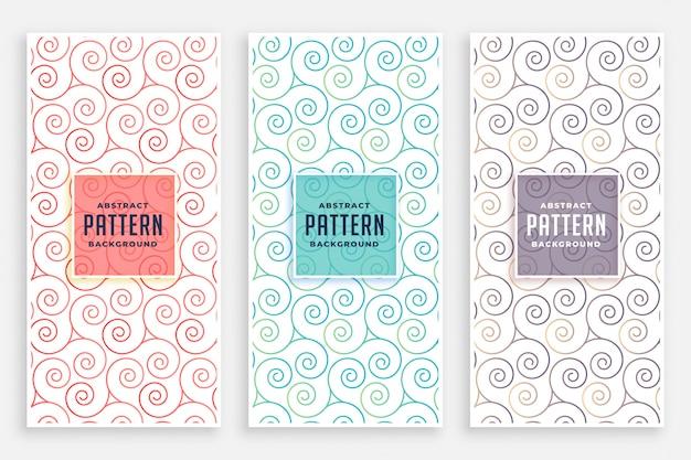 Conjunto de padrões swirly de três cores Vetor grátis