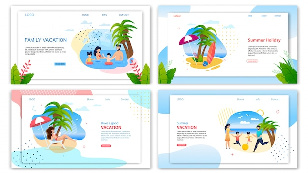 Conjunto de página de destino de férias de família férias de verão Vetor Premium