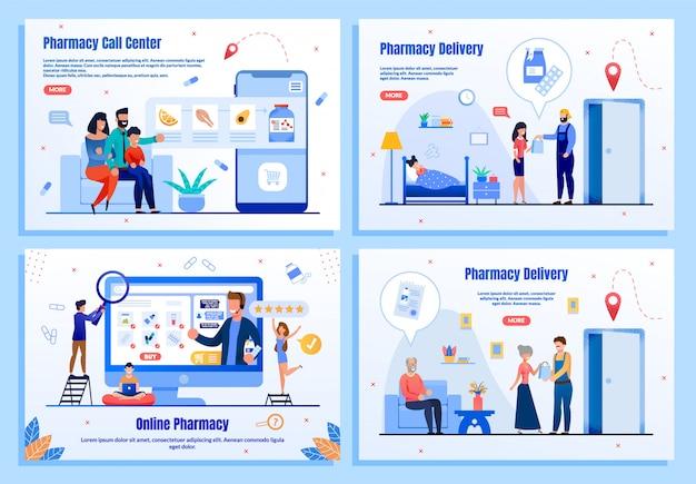 Conjunto de páginas da web plana de serviços on-line de farmácia Vetor Premium