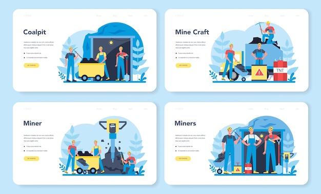 Conjunto de páginas de destino da web de mineração de carvão ou minerais. trabalhador de uniforme e capacete com picareta, britadeira e carrinho de mão trabalhando no subsolo. profissão da indústria extrativa. ilustração vetorial Vetor Premium