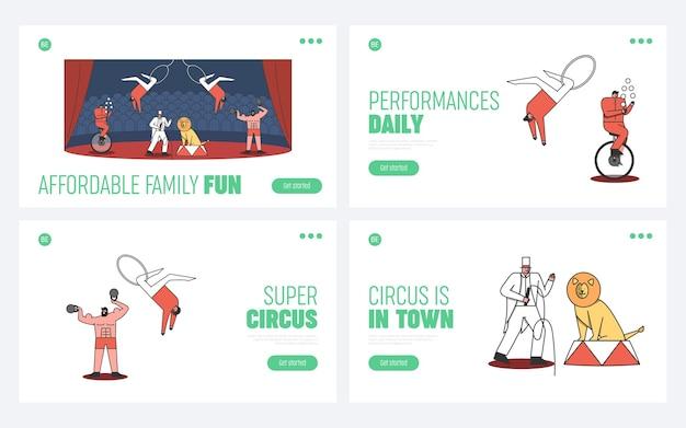 Conjunto de páginas de destino de circo. bem-vindo ao conceito de evento de circo Vetor Premium