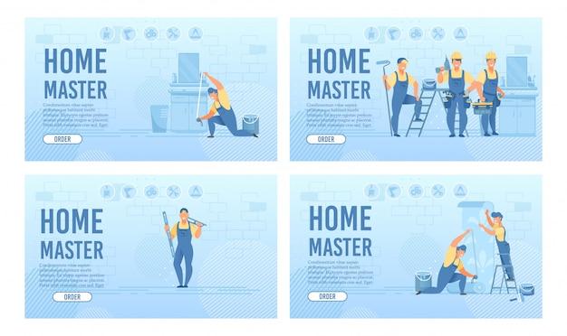 Conjunto de páginas de destino do serviço de reparo e renovação em casa Vetor Premium