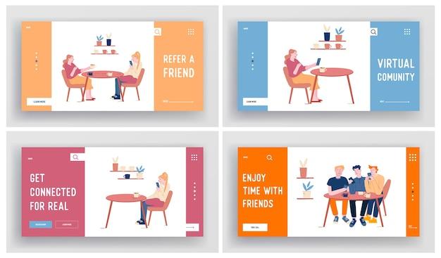 Conjunto de páginas de destino do site de encontro de jovens no café bebendo café Vetor Premium