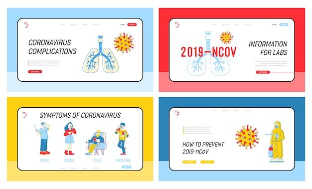 Conjunto de páginas de destino do site de prevenção de infecção por coronavírus Vetor Premium