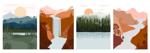 Conjunto de paisagem abstrata de outono. animais da floresta, colinas de madeira de coníferas com cordilheira, lago, modelo de silhueta de rio Vetor Premium