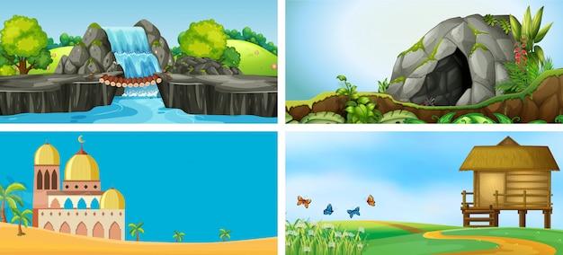 Conjunto de paisagem ao ar livre Vetor Premium