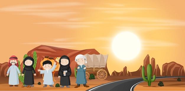 Conjunto de paisagem do deserto Vetor grátis