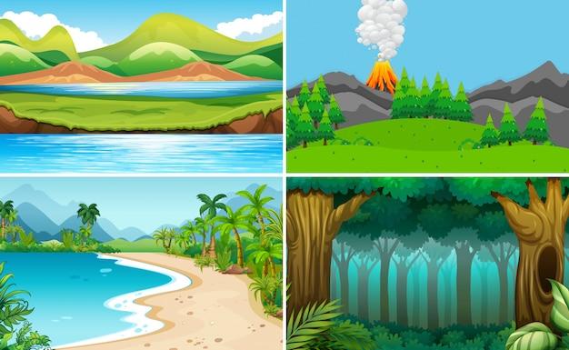 Conjunto de paisagem natural Vetor Premium