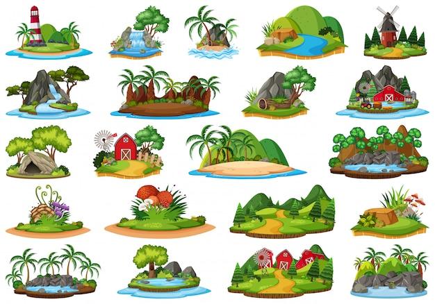 Conjunto de paisagem natureza ilha Vetor Premium