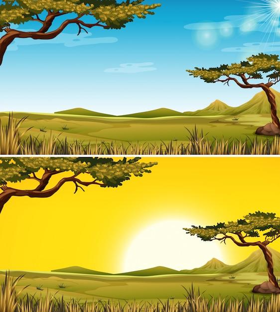 Conjunto de paisagem savana Vetor Premium