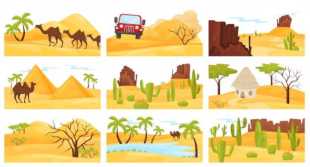 Conjunto de paisagens coloridas do deserto com camelos, montanhas rochosas, pirâmides e carro. design plano Vetor Premium