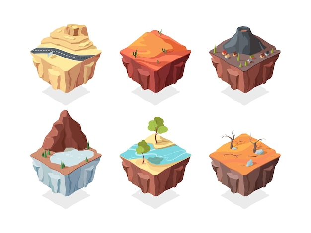 Conjunto de paisagens de jogo de ilha isométrica. deserto vermelho com vulcão de cactos com lago de montanha de casa de aldeia e rio de plantas com árvores ao lado da estrada rodoviária em terreno rochoso. Vetor Premium