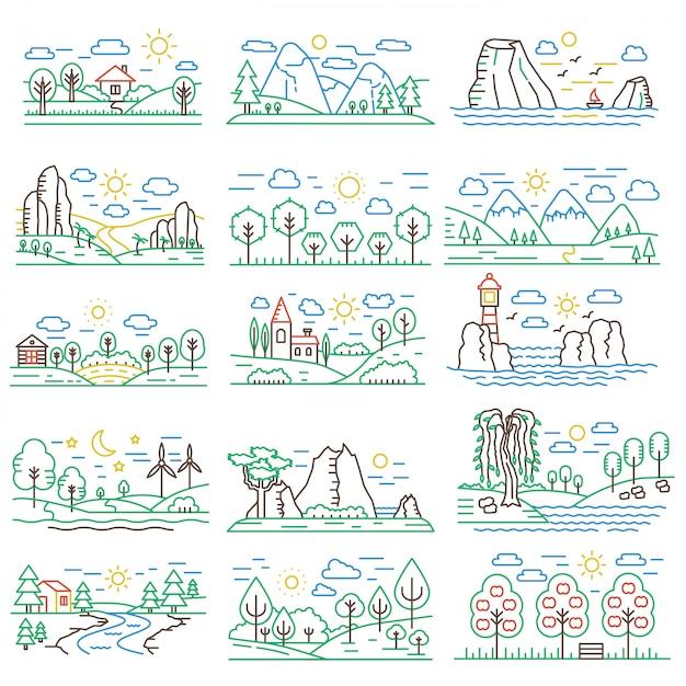 Conjunto de paisagens de linha de cor natural Vetor Premium