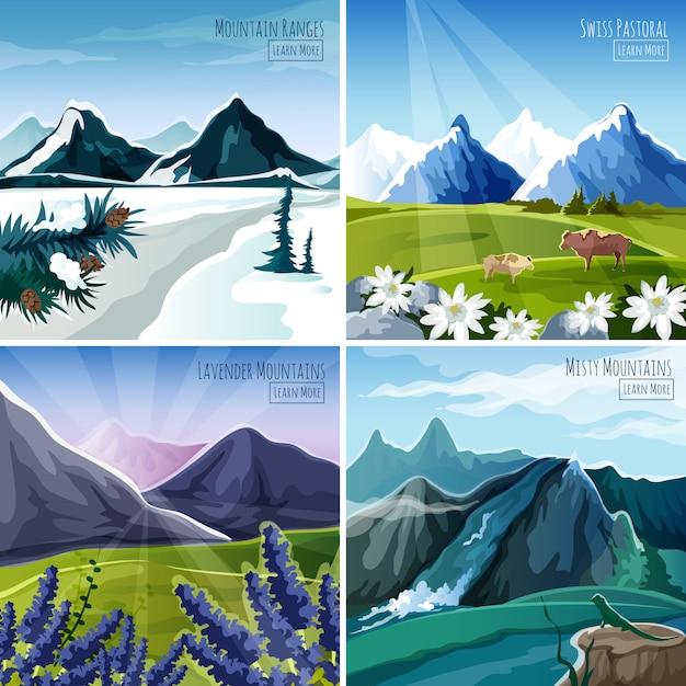 Conjunto de paisagens de montanha Vetor grátis