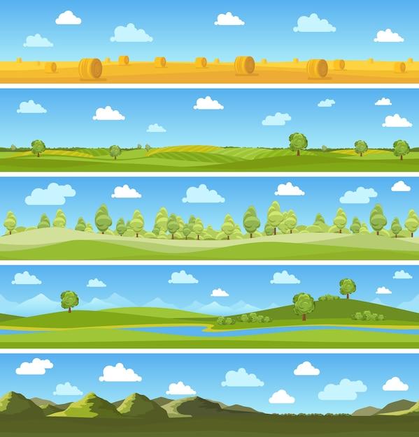 Conjunto de paisagens do país. árvore do céu ao ar livre, prado de verão, nuvem e colina. ilustração vetorial Vetor grátis