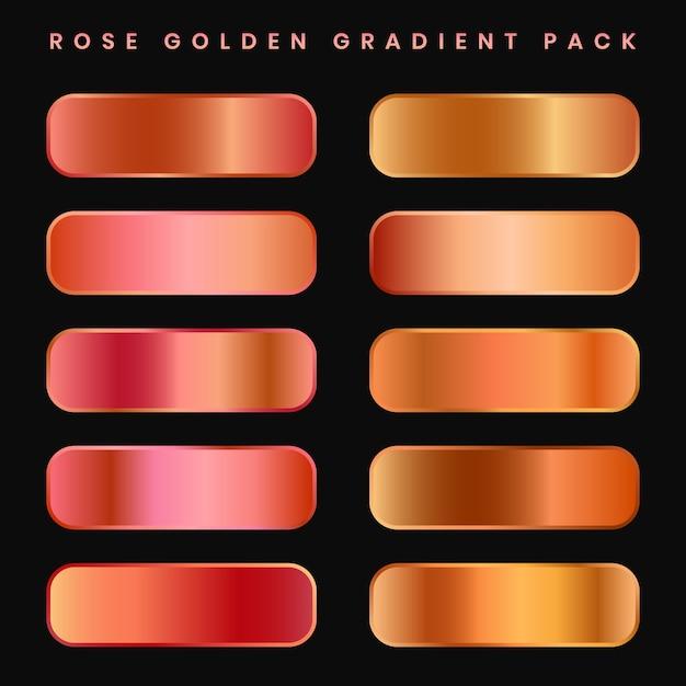 Conjunto de paletas de amostras gradientes de cobre ou ouro rosa Vetor Premium