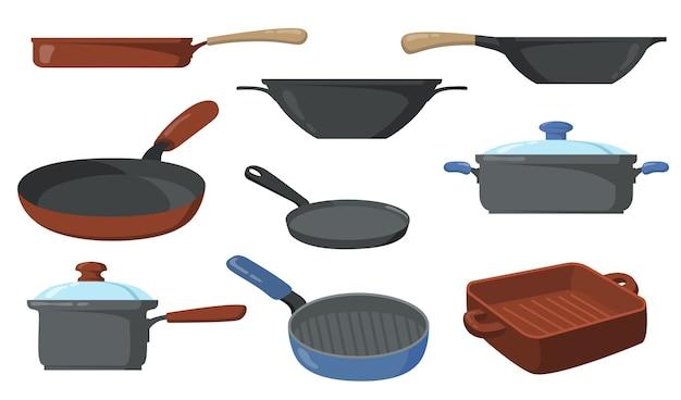Conjunto de panelas de cozinha. frigideiras e frigideiras, frigideira com cabo e wok. Vetor grátis