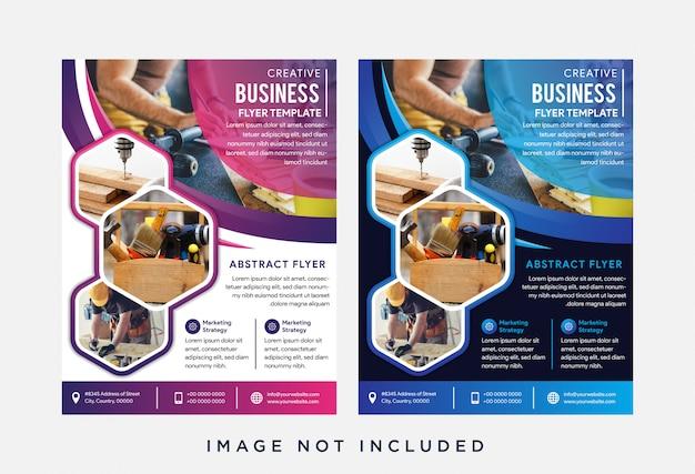 Conjunto de panfleto abstrato com hexágono Vetor Premium
