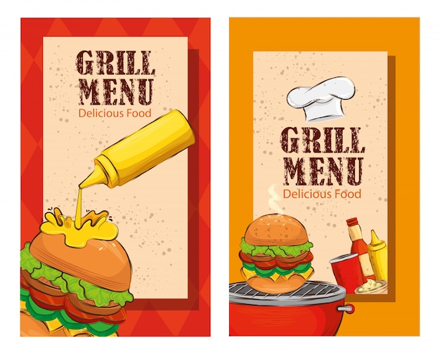 Conjunto de panfleto de menu de grelhados com deliciosos hambúrgueres Vetor grátis