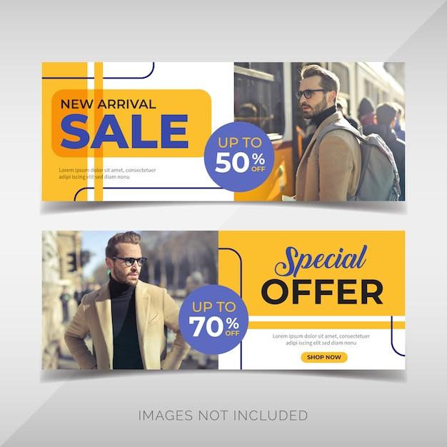 Conjunto de panfleto de venda de moda Vetor Premium