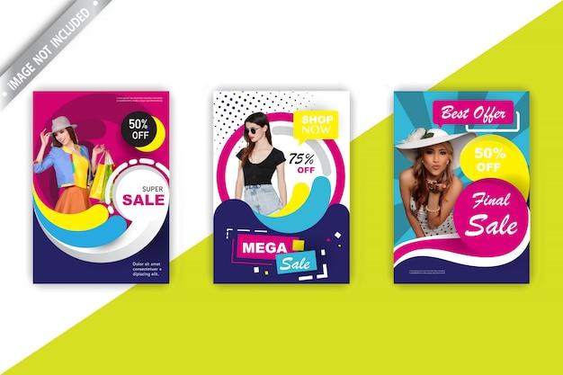 Conjunto de panfleto de vendas de moda Vetor grátis