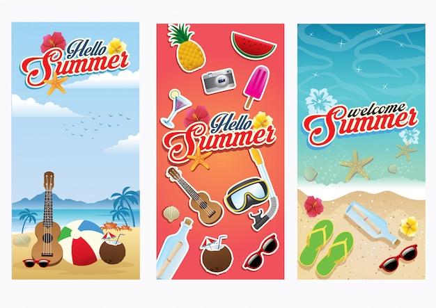 Conjunto de panfleto de verão praia coleção Vetor Premium