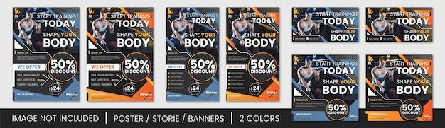 Conjunto de panfleto e banner de ginásio Vetor Premium