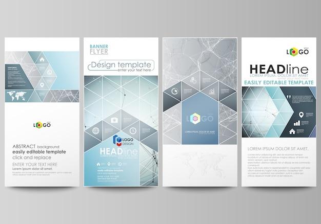 Conjunto de panfletos, banners modernos. modelo de design de capa, layouts de vetor abstrato. Vetor Premium