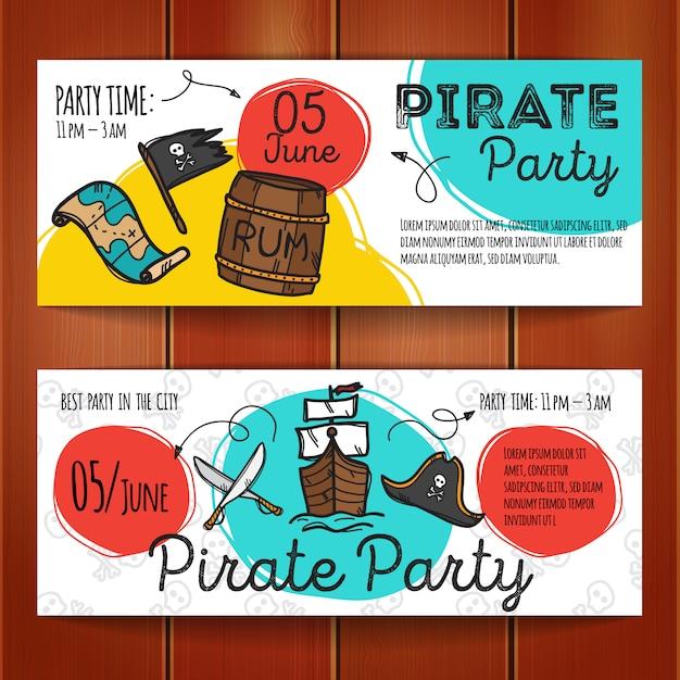 Conjunto de panfletos de festa do pirata Vetor Premium