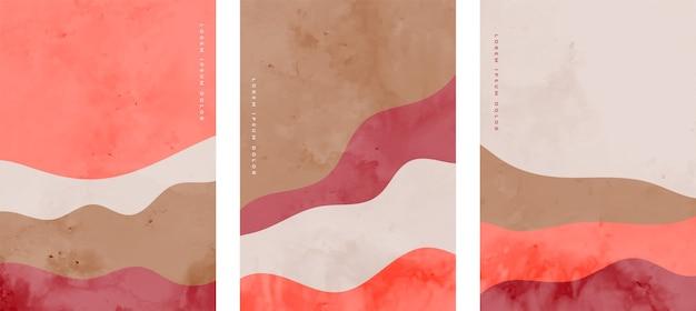 Conjunto de panfletos de onda abstratos minimalistas pintados à mão Vetor grátis