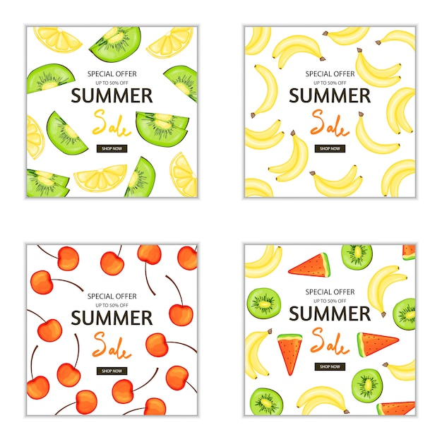 Conjunto de panfletos de verão e folhetos de publicidade e descontos Vetor Premium