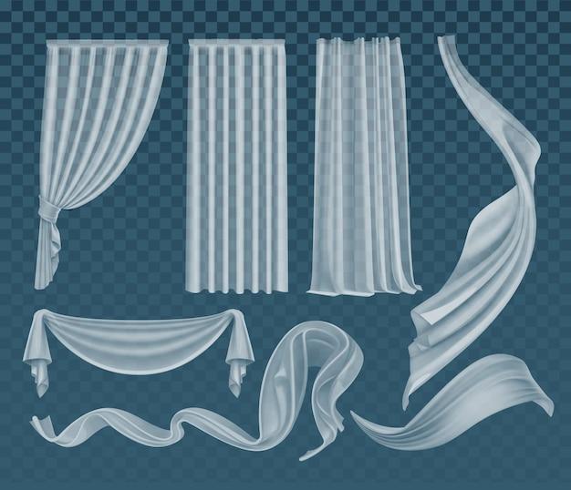 Conjunto de panos brancos translúcidos vibrantes realistas, material claro e leve Vetor Premium