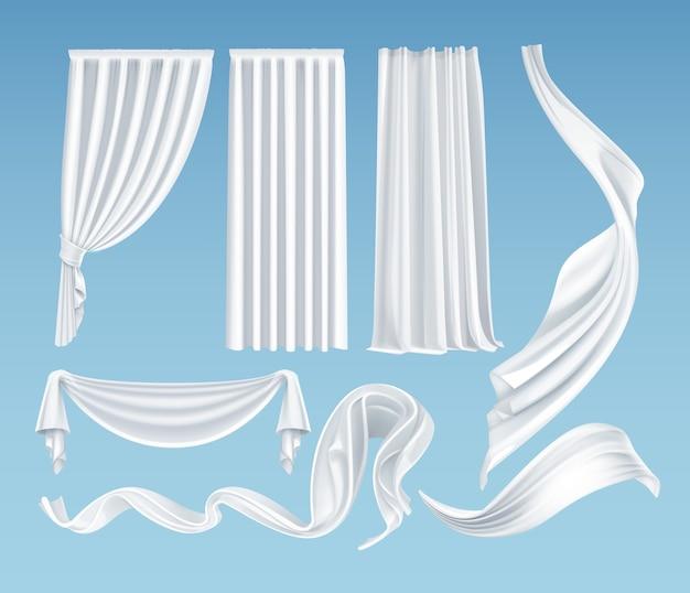 Conjunto de panos brancos vibrantes realistas, material transparente leve e macio e cortinas isoladas em fundo azul gradiente Vetor Premium