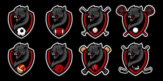Conjunto de panteras negras cabeça logotipo mascote para logotipo de mascote de equipe de esporte. Vetor Premium