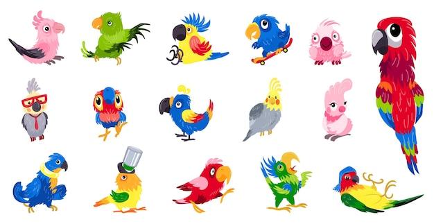 Conjunto de papagaio. conjunto de desenhos animados de ilustração de papagaio Vetor Premium