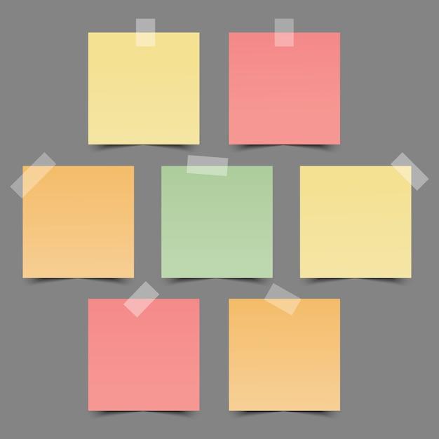 Conjunto de papéis de nota coloridos Vetor Premium