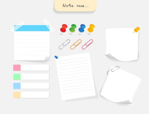 Conjunto de papéis de nota diferente com clipe, alfinete e etiqueta de papel. Vetor Premium