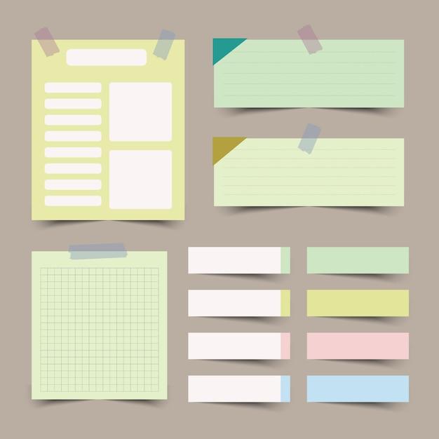 Conjunto de papéis de nota diferente isolado Vetor Premium