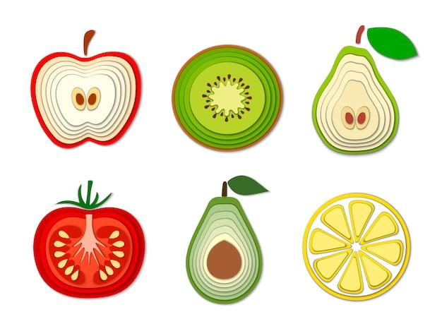 Conjunto de papel cortado frutas e legumes Vetor Premium