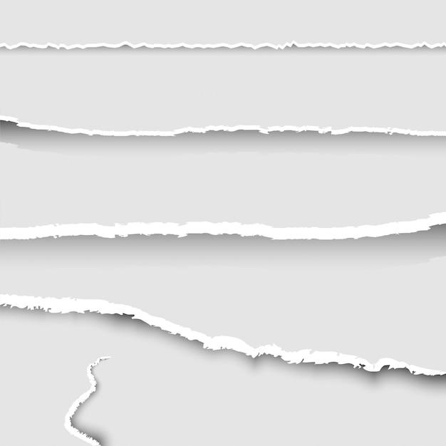 Conjunto de papel rasgado, coleção de pedaços de papel rasgado com bordas rasgadas e sombras, conjunto de faixas de papel rasgado, plano de fundo, Vetor Premium