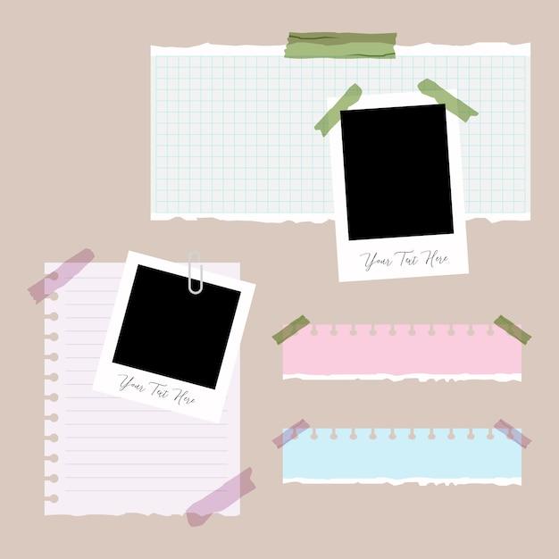 Conjunto de papel rasgado, rasgado de papel e foto com clip Vetor Premium