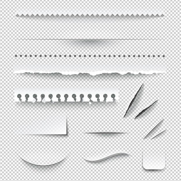 Conjunto de papel rasgado Vetor grátis