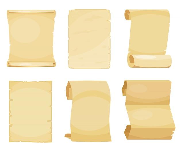 Conjunto de papelão velho folhas. Vetor Premium