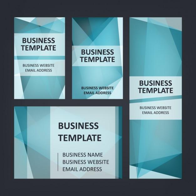 Conjunto de papelaria azul do negócio Vetor grátis